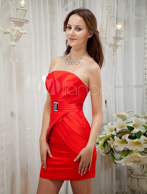 China Wholesale Clothes - Red Strapless Sheath Rhinestone Satin Cocktail Dress