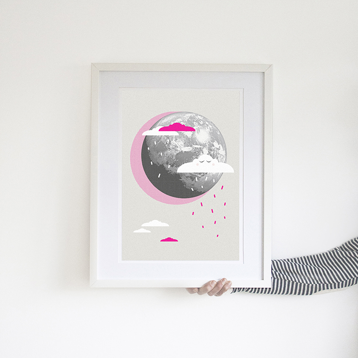 neon pink cloud poster