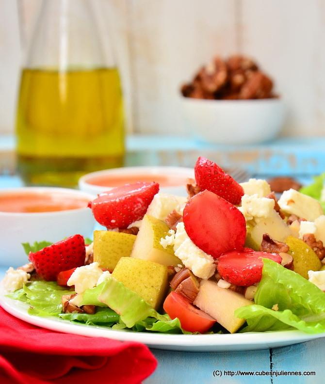 Pear Pecan Feta Salad - Cubes N Juliennes