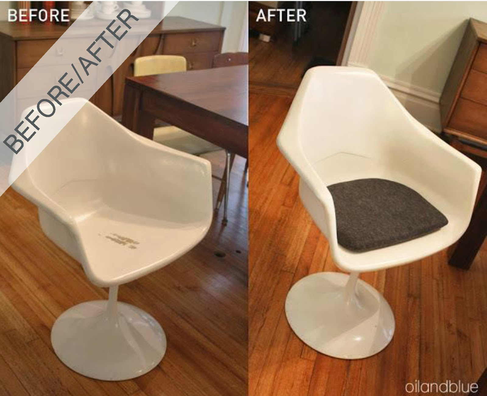 oil and blue diy replacement cushion for tulip chair before and