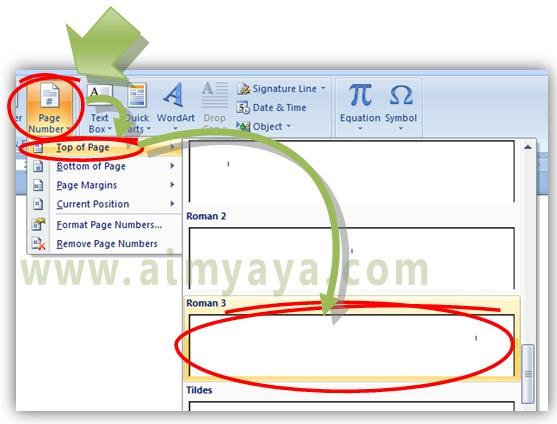 Gambar: Cara menambahkan nomor pada bagian kanan atas halaman  di Microsoft word