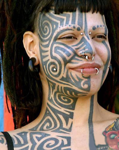 Sexy girl face tattoo
