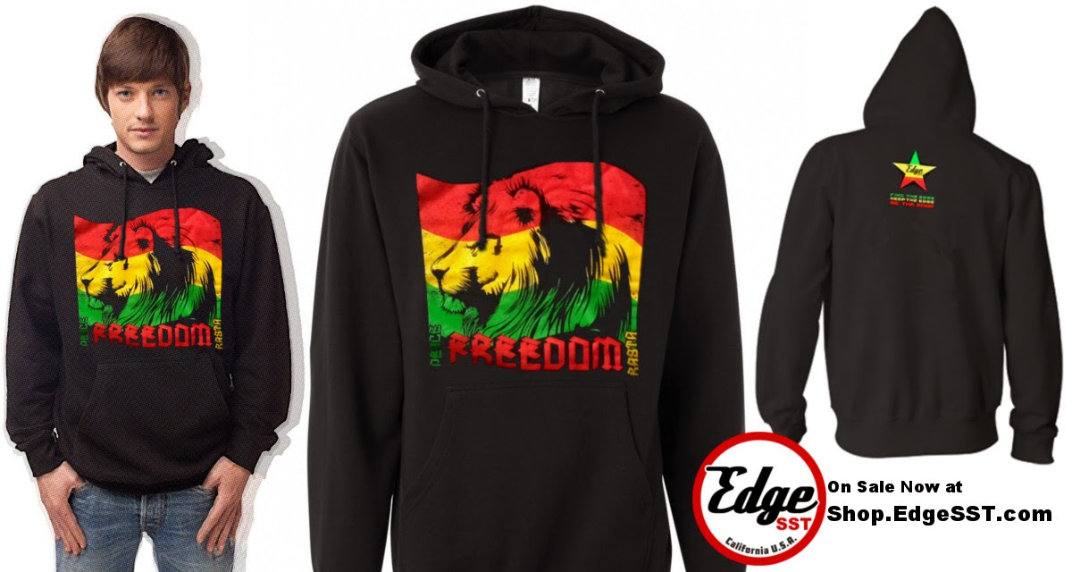 Freedom Rasta Hoodie Sweatshirt Black From Edge SST