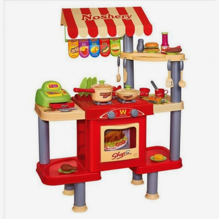 weng zaballa: wooden and plastic kitchen play set