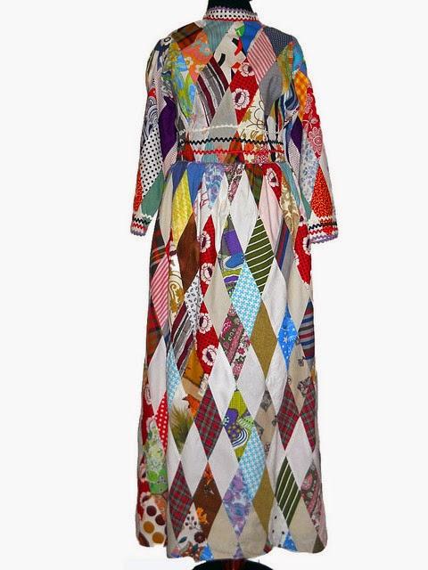 Rochie maxi patchwork vintage anii '60