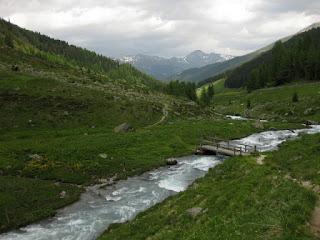 Wooden footbridge over the fast-moving waters of the Sertigbach, Sertig Dörfli, Switzerland