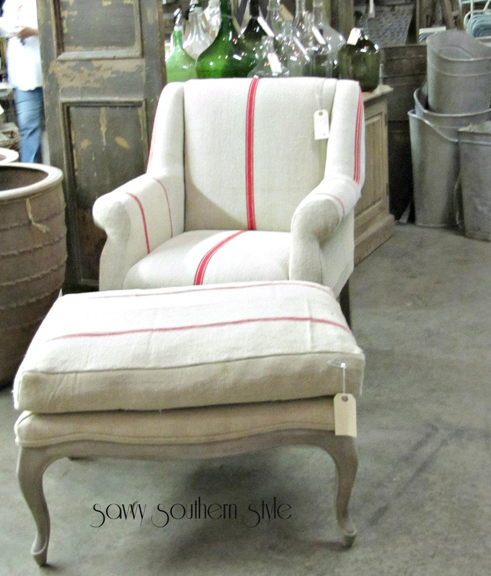 Lovely Loved the furniture covered in vintage grain sacks