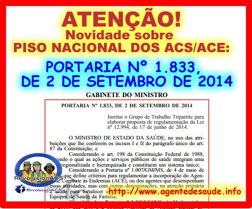 portaria%2B1833 Nova portaria (nº 1.833 / 2014) Cria grupo para elaborar a regulamentação da Lei nº 12.994 / 2014