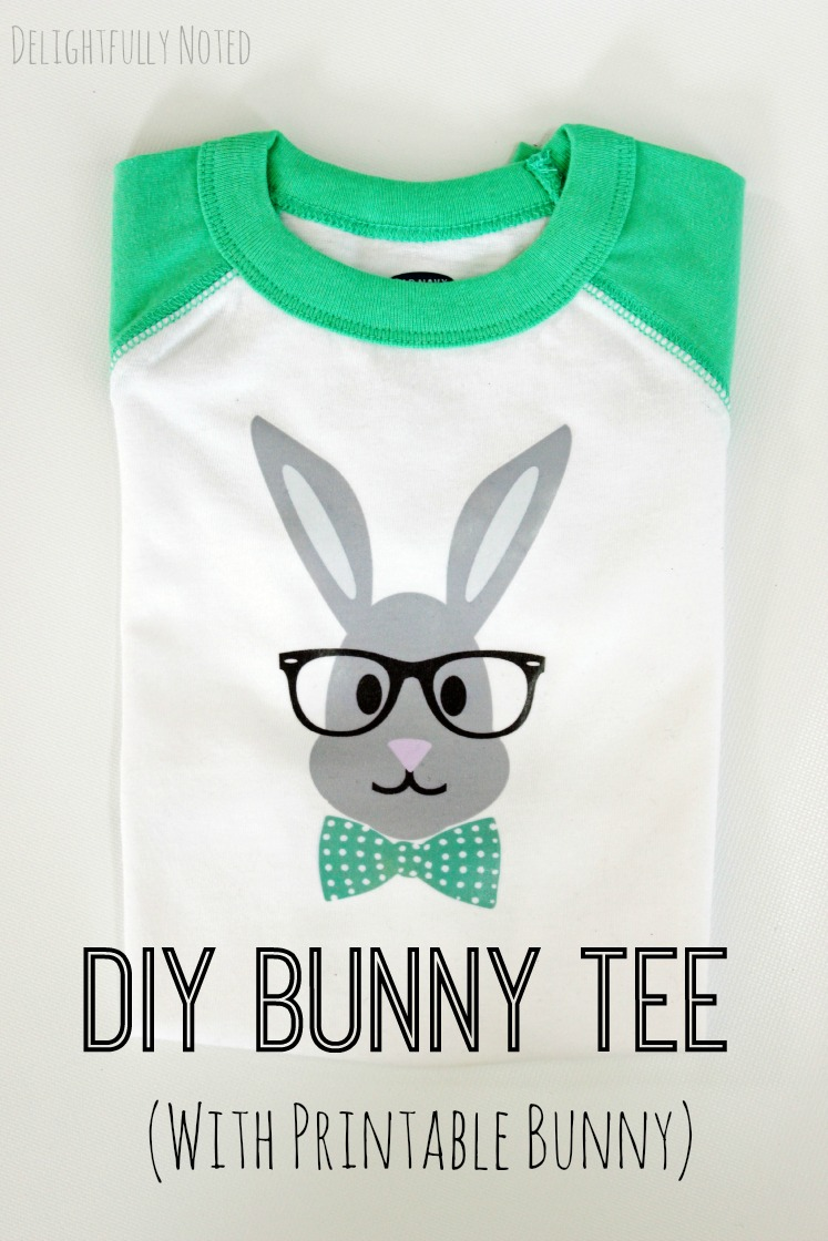 DIY Hipster Bunny Tee with Free Printable Iron On Bunny #easter