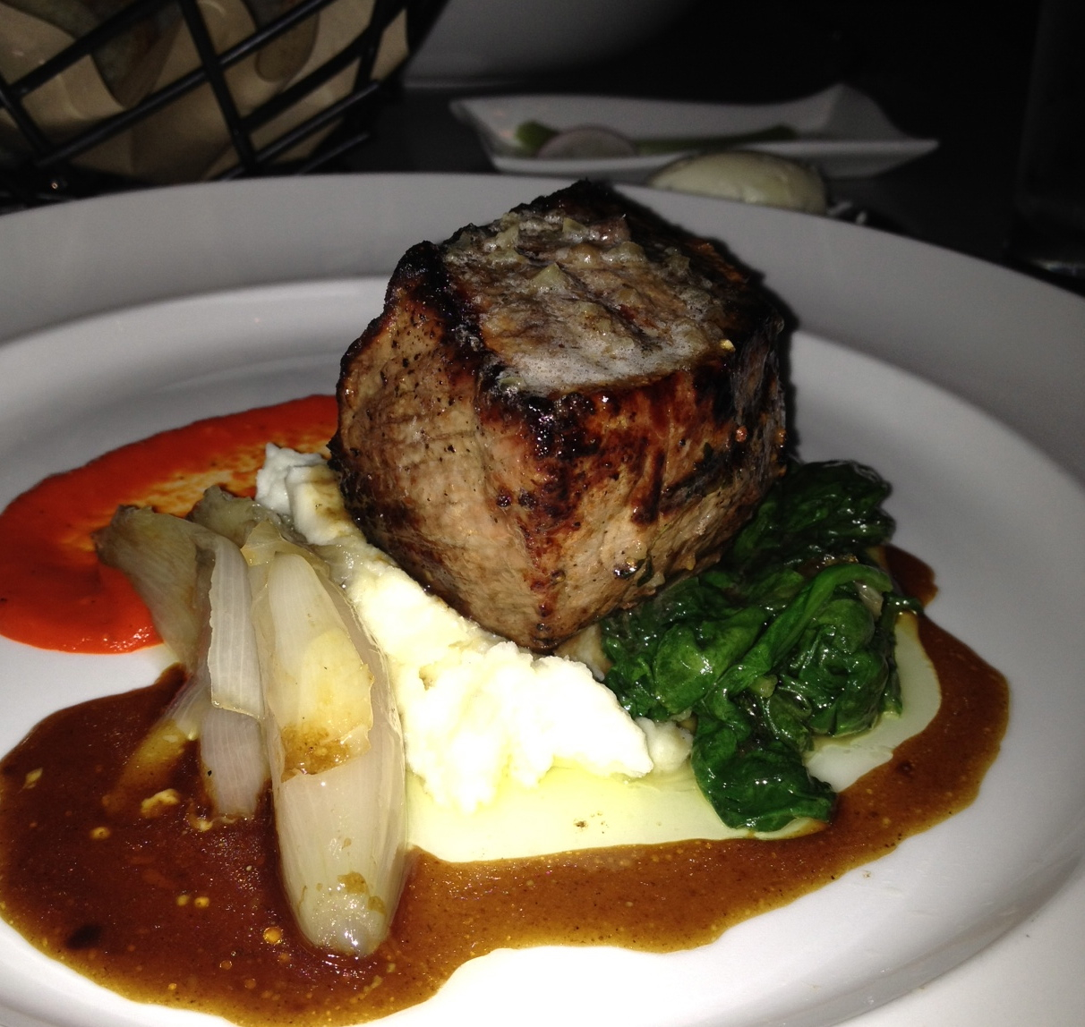 ... shallot confit, bone marrow butter and sauteed spinach. I practically