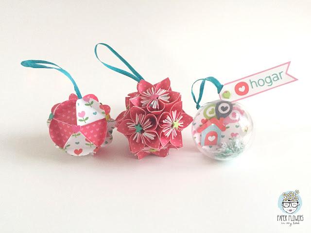 bolas de navidad con papel de scrapbooking