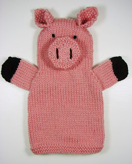 hand knit hand puppets toy animals farm pig