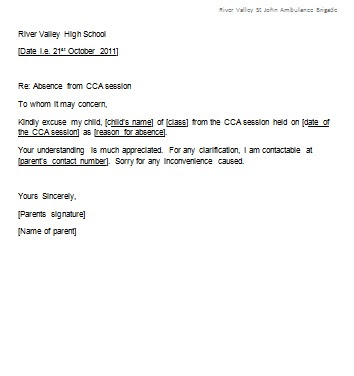 School Absence Excuse Letter