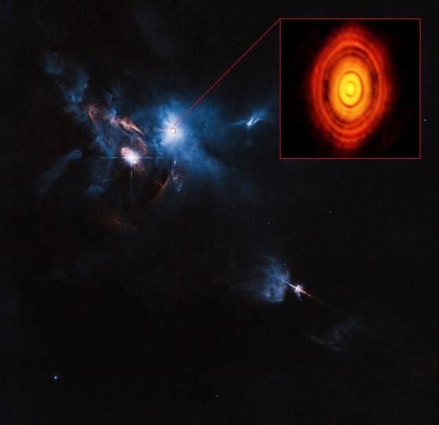 Gambar Hubble dari wilayah sekitar HL Tau