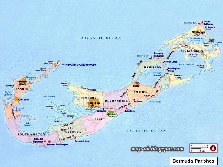 Map of UK Bermuda Map Political Region and Information