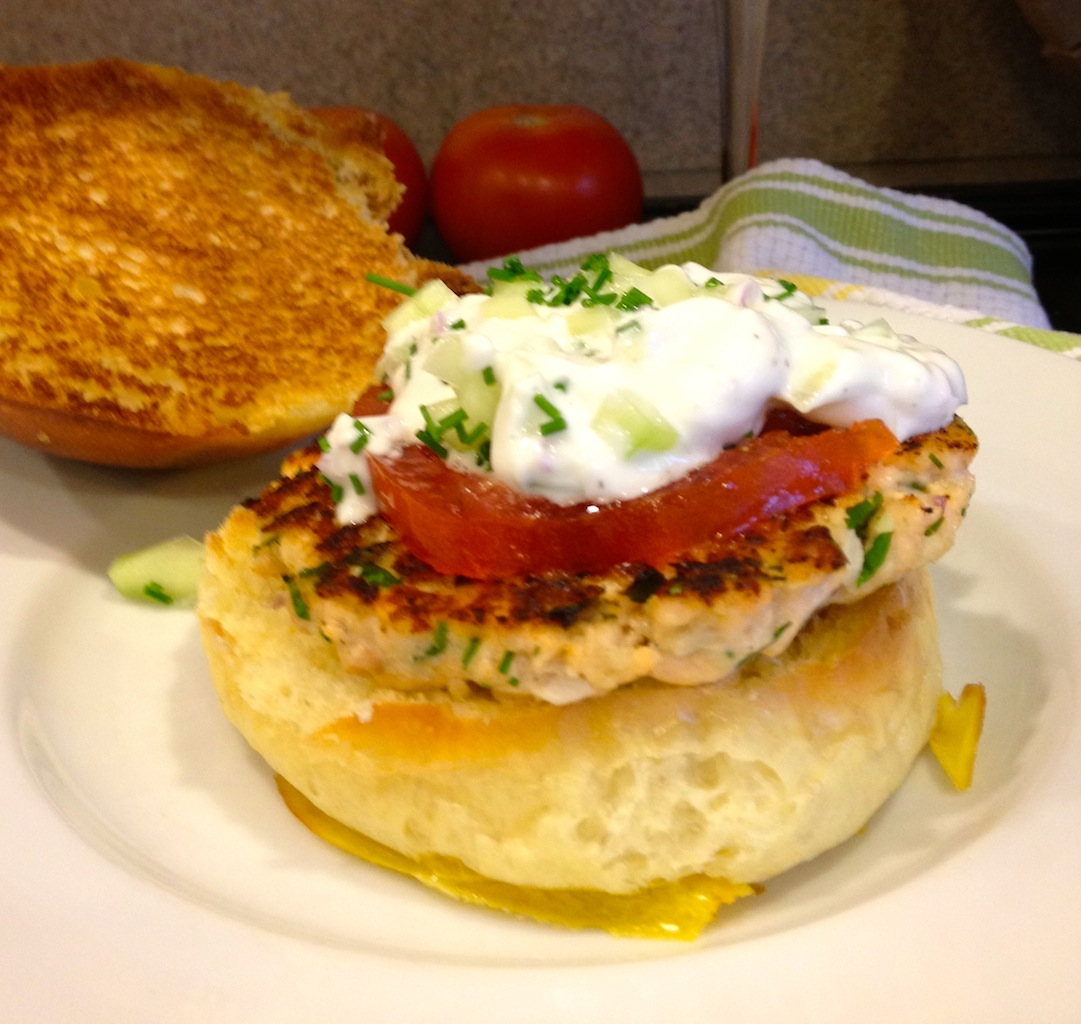 ... Creative Life: Salmon Burgers with Yogurt Cucumber Sauce and Tomato