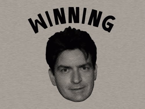 charlie sheen winning shirt. winning charlie sheen gif.