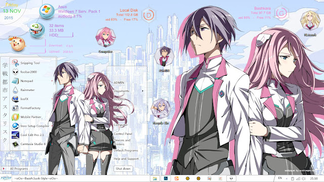Theme Windows 7 Gakusen Toshi Asterisk By Bashkara