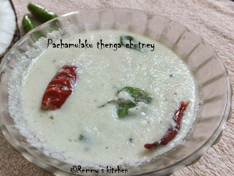 Pachamulaku thenga chutney/coconut chutney with green chilly