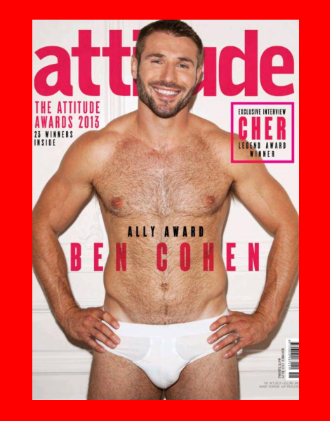 Ben Cohen covers Attitude Magazine November 2013 in his pants
