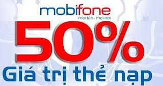 Khuyến mãi 50% giá trị thẻ nạp Mobifone vào ngày 03/10/2015