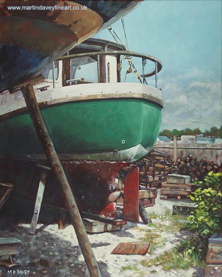 acrylic boat yard painting