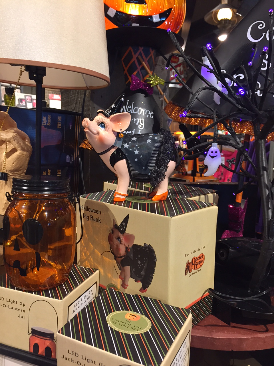 cracker barrel has out its halloween offerings and heres some snaps of the goodies you can get the haunted lamp at the bottom was intriguing