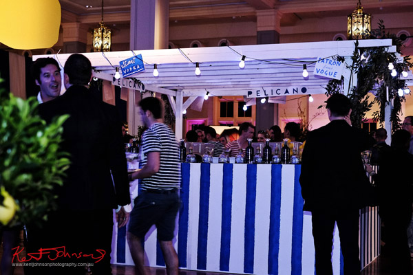 The blue striped Pelicano Bar and patrons; The Social Party at Pelicano David Jones for VFNO