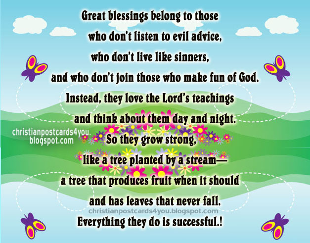 Christian Postcard Great Blessings to you. free cards, Psalm 1 in image, God bless you for sharing with facebook friends. Great blessings belong to those who love the Lord's teachings