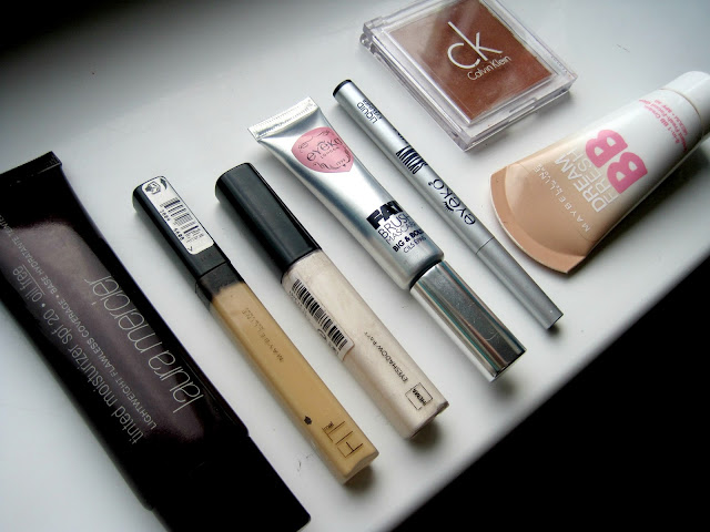 laura marecier tinted moisturizer,maybelline bb cream,eyeko skinny liner fat brush mascara, maybelline fit me concealer swatch review ck bronzing powder