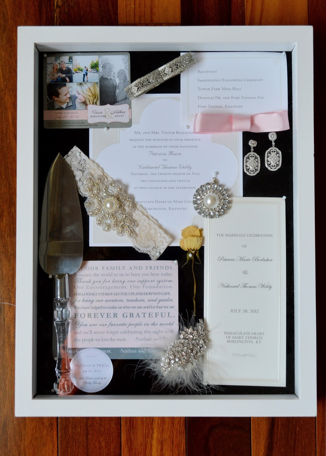 724 south house our big day displayed diy wedding shadow box. Black Bedroom Furniture Sets. Home Design Ideas