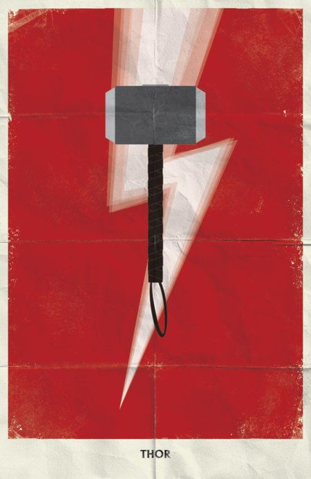 marko manev ilustração poster minimalista super heróis marvel Thor