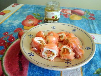 rotolo di salmone con mostarda di fichi lazzaris