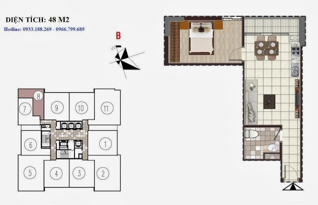 Tòa D Chung cư Golden Silk - Kim Văn Kim Lũ - Vinaconex2, căn 48m2