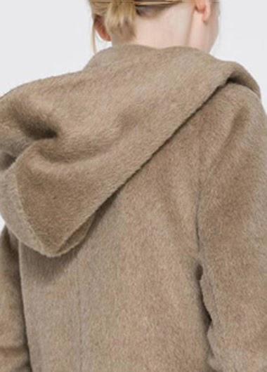 Abrigo de Lana con Capucha y Bolsillos Grandes