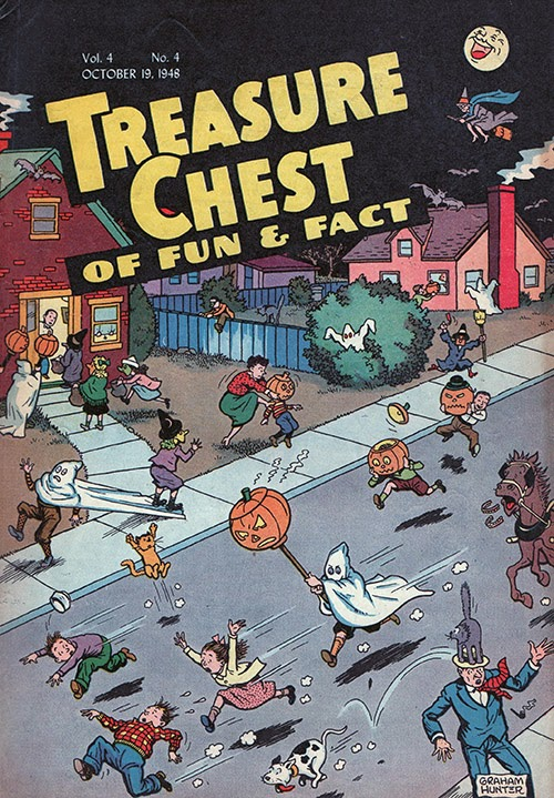 Sight gags with ghosts, bats, witches, and Jack O'lanterns on vintage collectible comic book cover for Halloween 1940s