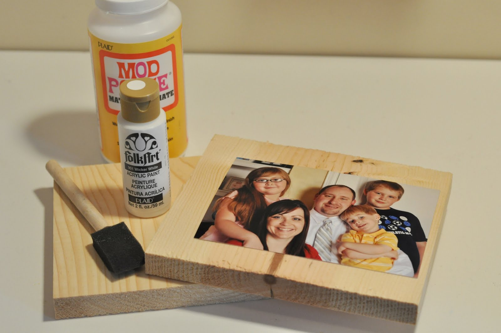 First Of All, Gather Supplies: A Photo, A Piece Of Wood About An 1  1 1/2  Inches Larger Than The Photo All The Way Around (I Had These Cut At Home  Depot), ...