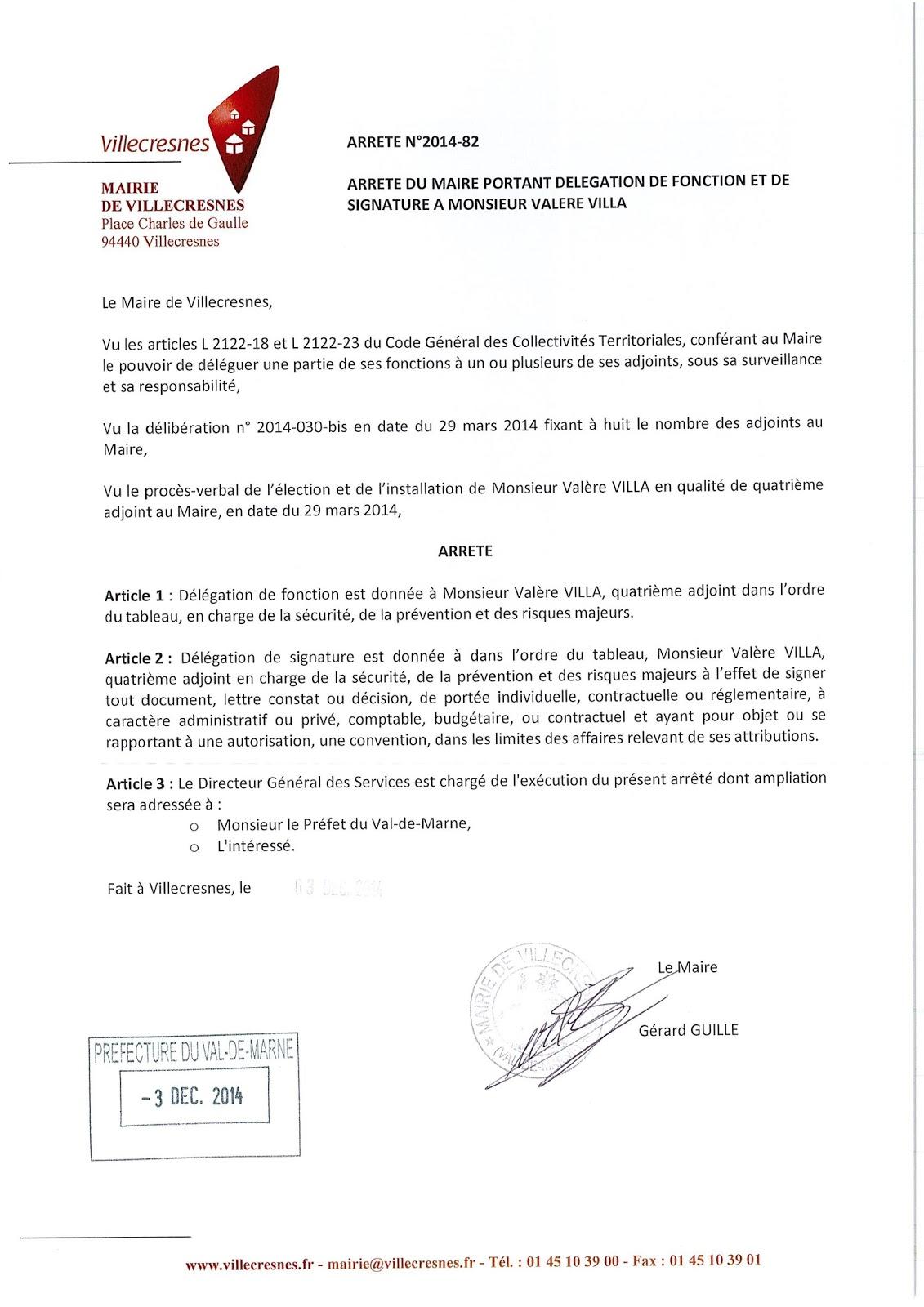 2014-082 Délégation de fonction et de signature à Monsieur Valère Villa