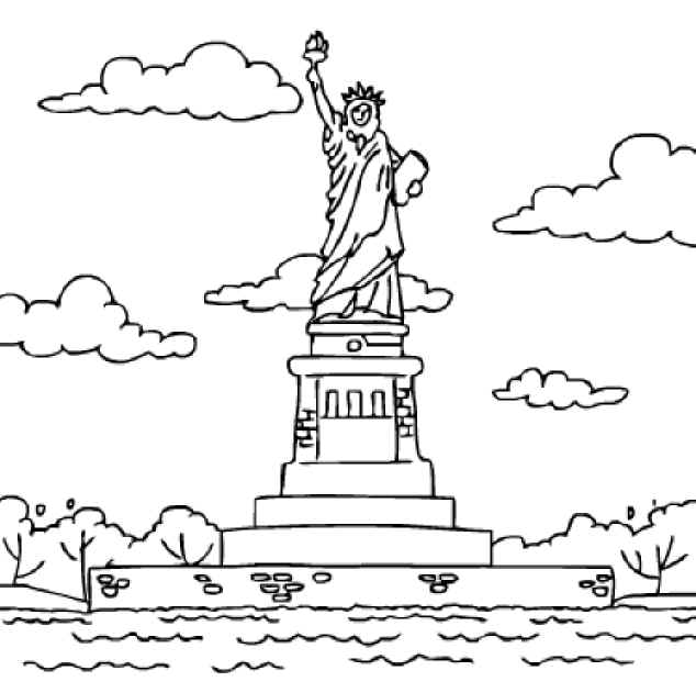 Statue Of Liberty Coloring Pages on letter a is for angel coloring page printable