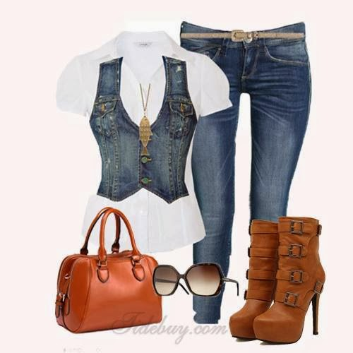 White shirt, denim waistcoat, jeans and brown long boots for fall