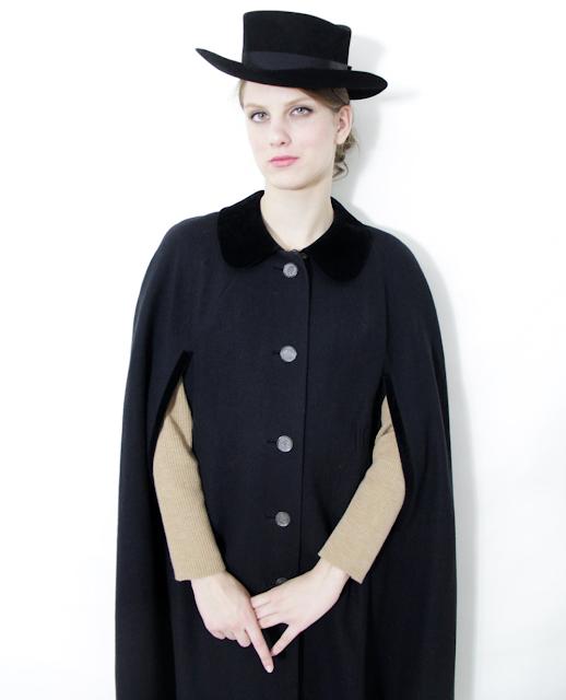 Black Vintage Cape #vintage #cape