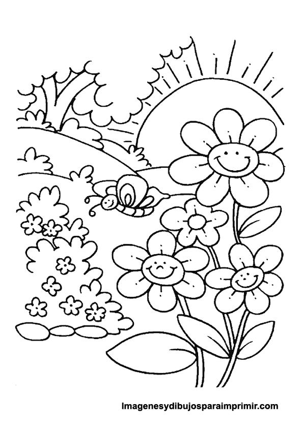 Dibujo infantil de flores