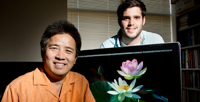 University of Illinois plant biology professor Ray Ming (left), graduate student Robert VanBuren and their colleagues sequenced the sacred lotus genome. Credit: L. Brian Stauffer