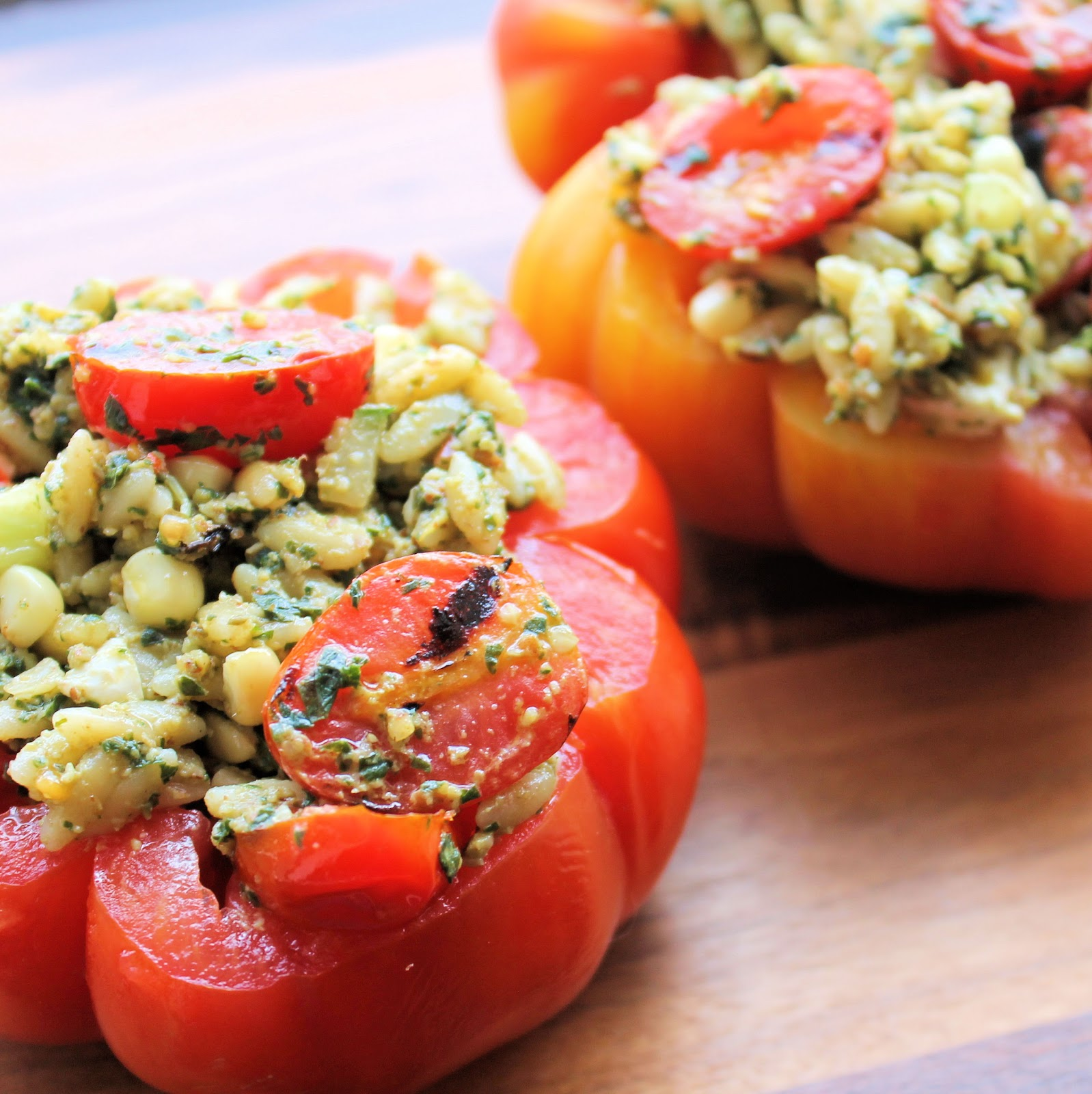 Grilled Tomato Orzo Salad in a Tomato Bowl Recipe | I Can Cook That ...