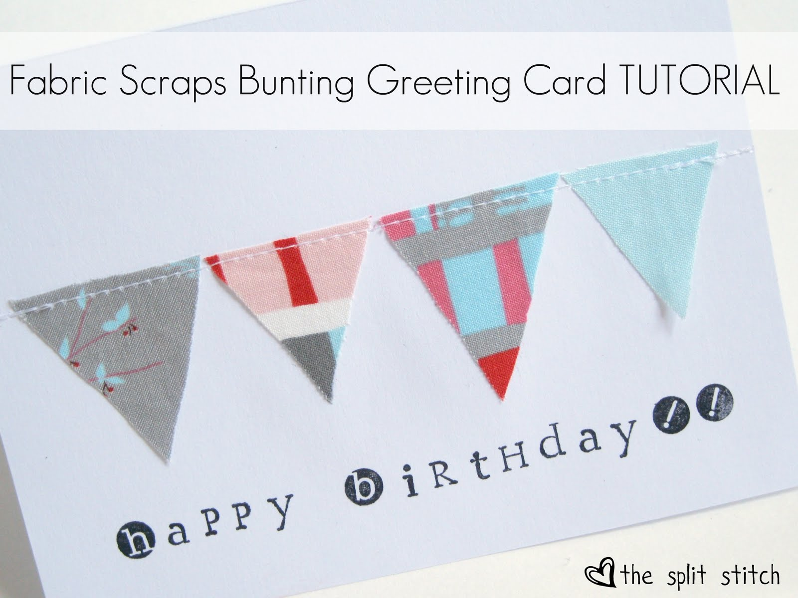x-x-x Fabric Scraps Bunting Greeting Card Tutorial x-x-x. Supplies.