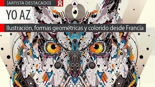 Ilustración, formas geométricas y colorido de YO AZ