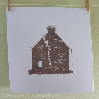 lino print, ruin, house, hand press print