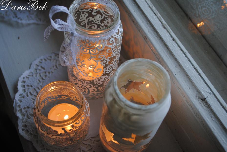 Светильник из банки и свечи своими руками 54