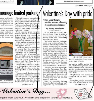Oregon State University's student newspaper for Valentines Day featured the OSU Pride Center's activity