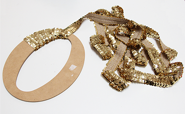 wrap sequin around letter